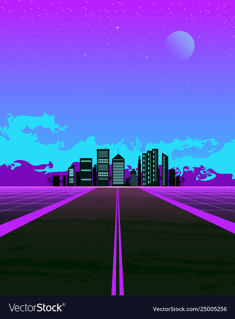 Synthwave with dream road and city on horizon