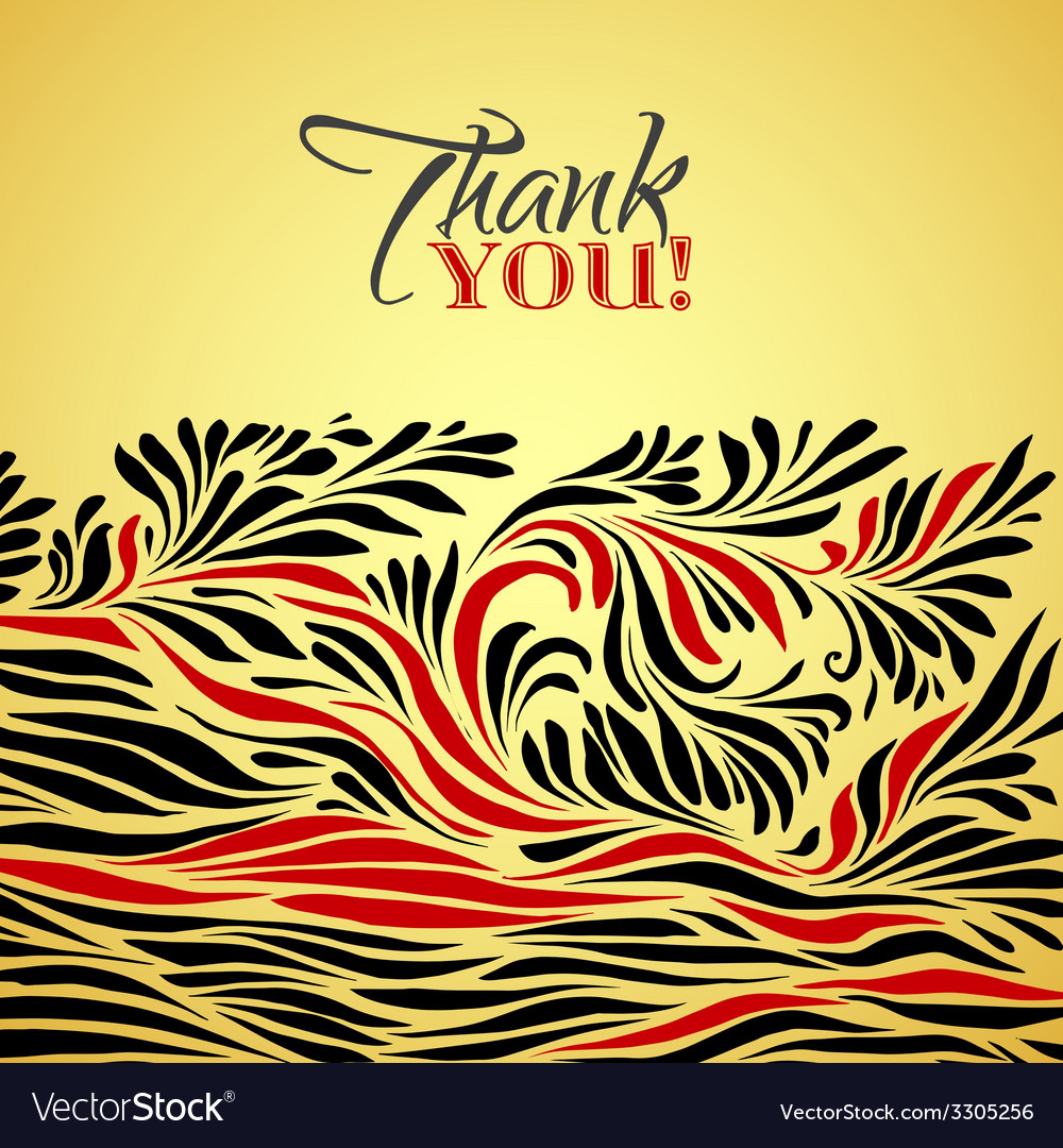 Thank you gold typographic card with ink floral