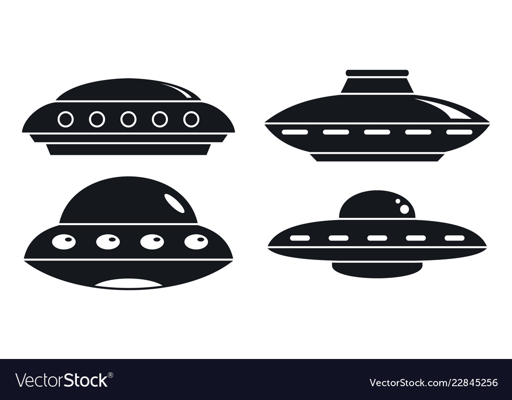 Ufo ship icon set simple style