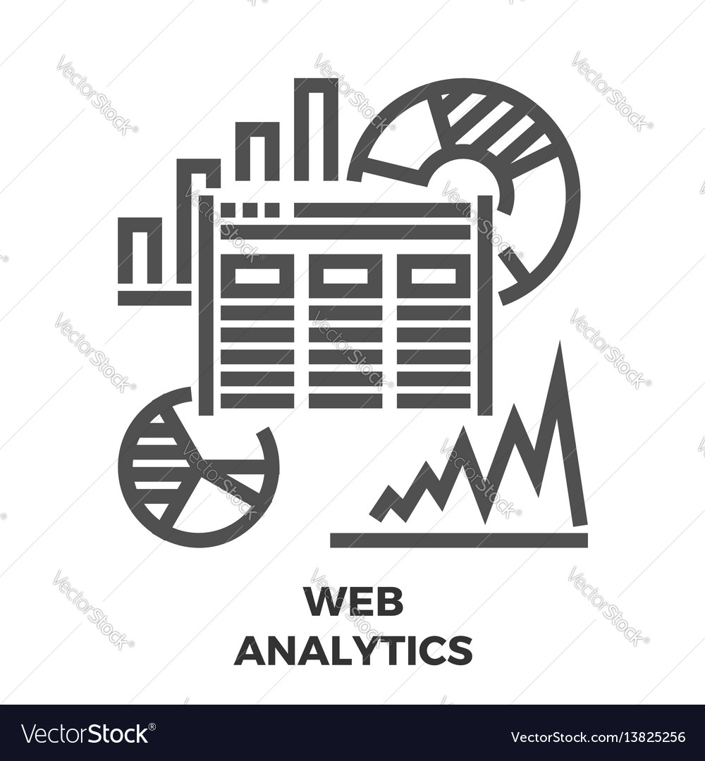Web analytics line icon