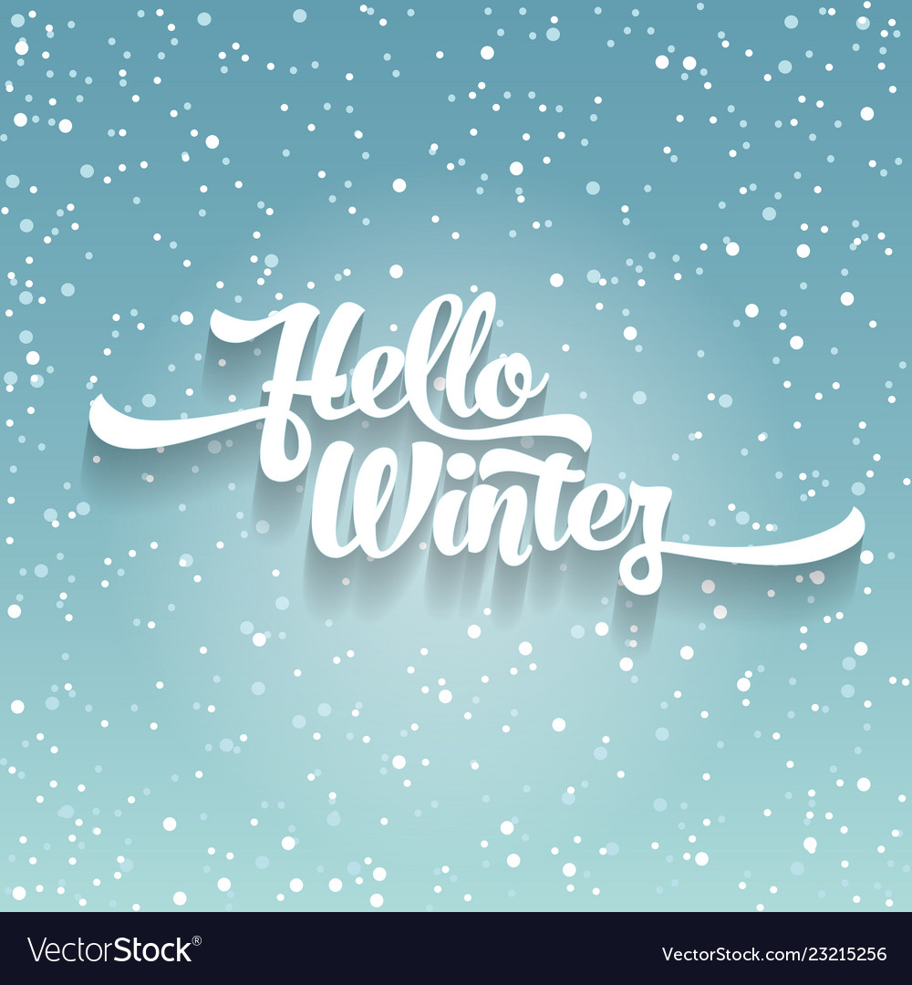 White text on green blue background with snow