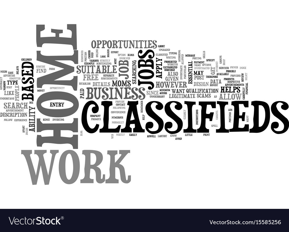 Work at home classifieds text word cloud concept Vector Image