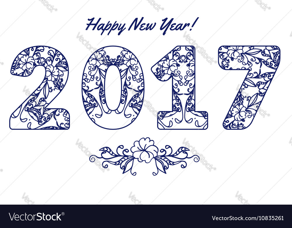 2017 numbers with floral pattern Happy New Year
