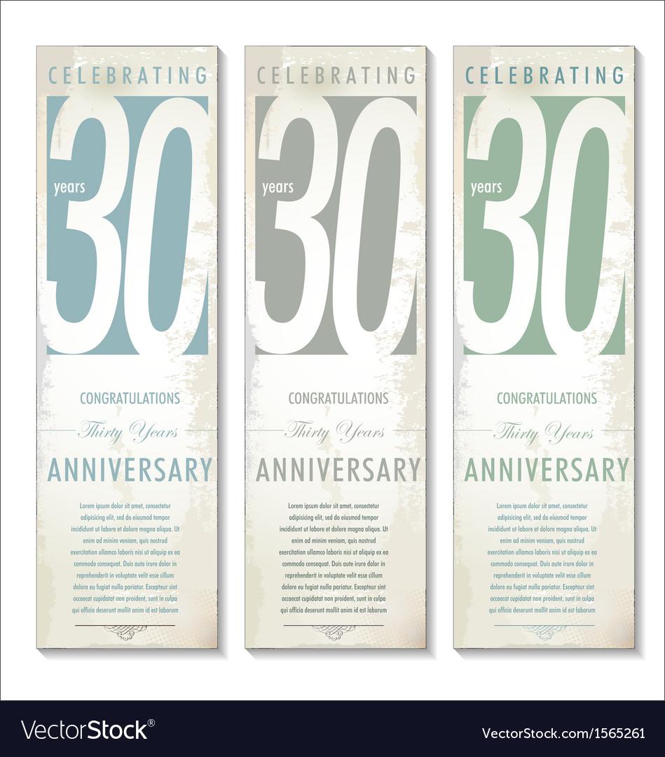 30 years Anniversary retro banner set