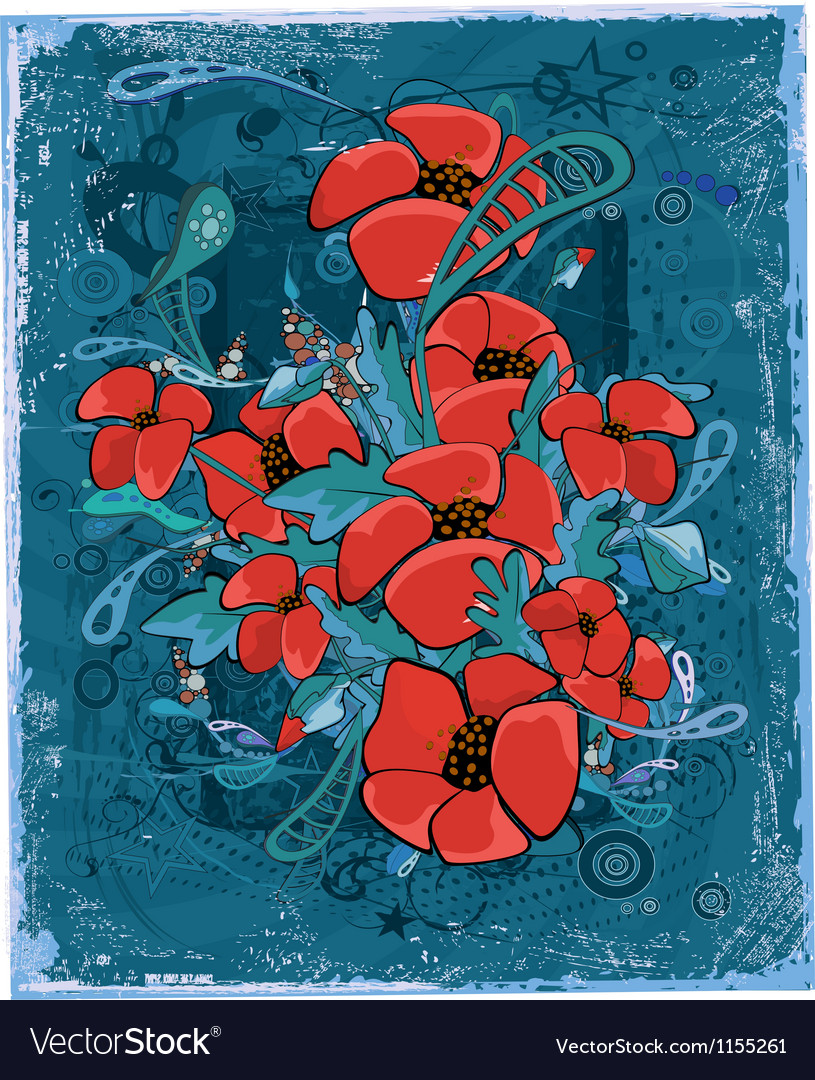 Abstract background with poppies