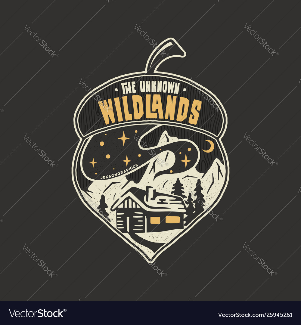 Camping badge acorn design outdoor