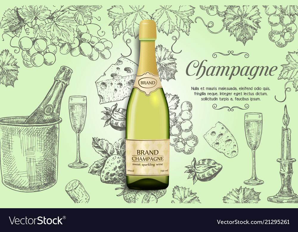 Champagne poster design template
