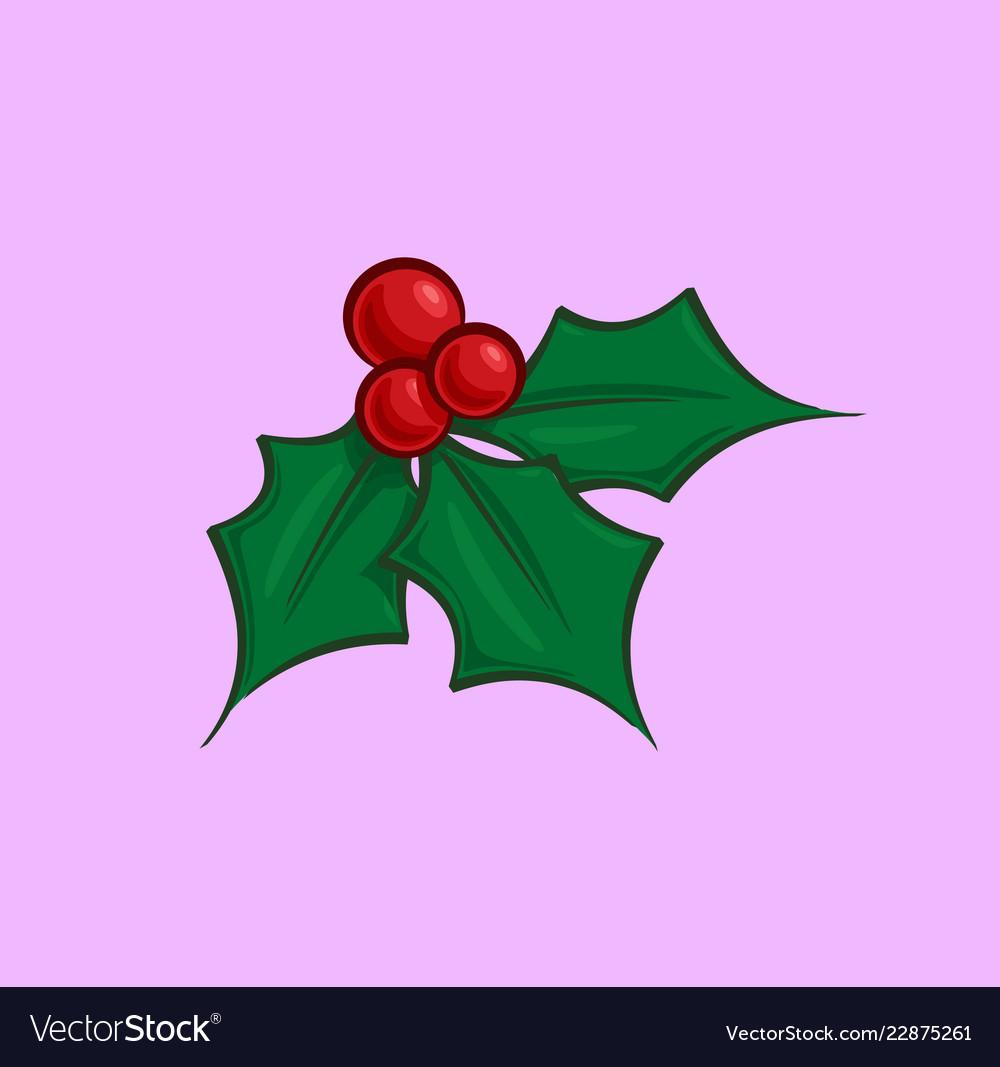 Christmas Holly Cartoon.Christmas Cartoon Icon Holly Mistletoe