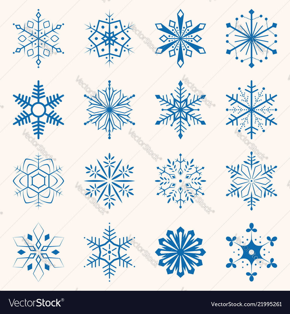 Collection of blue snowflakes sixteen snowflakes