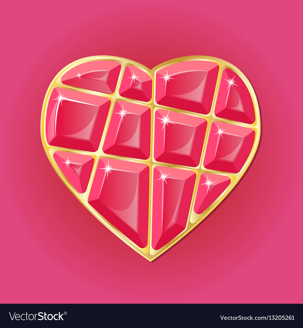 Diamond heart on pink background vector image