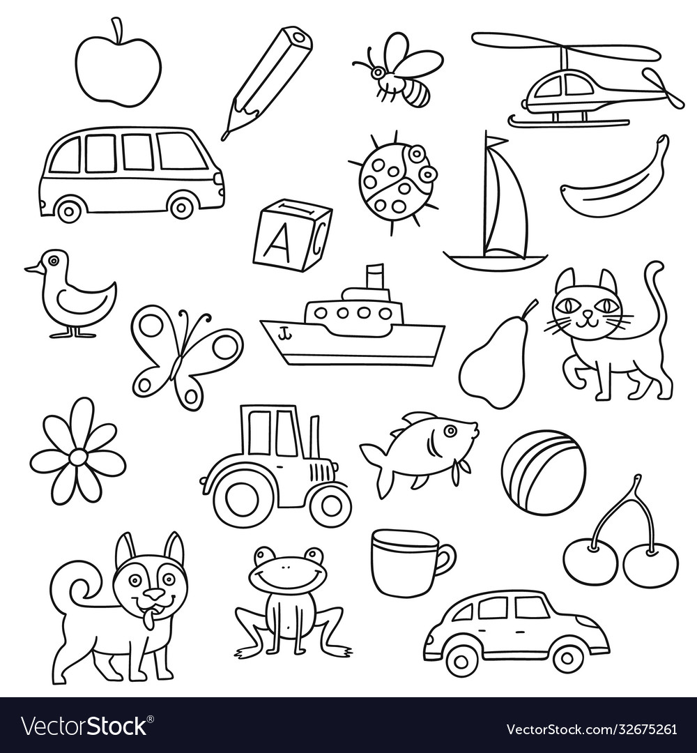 Different doodle items for kids first education