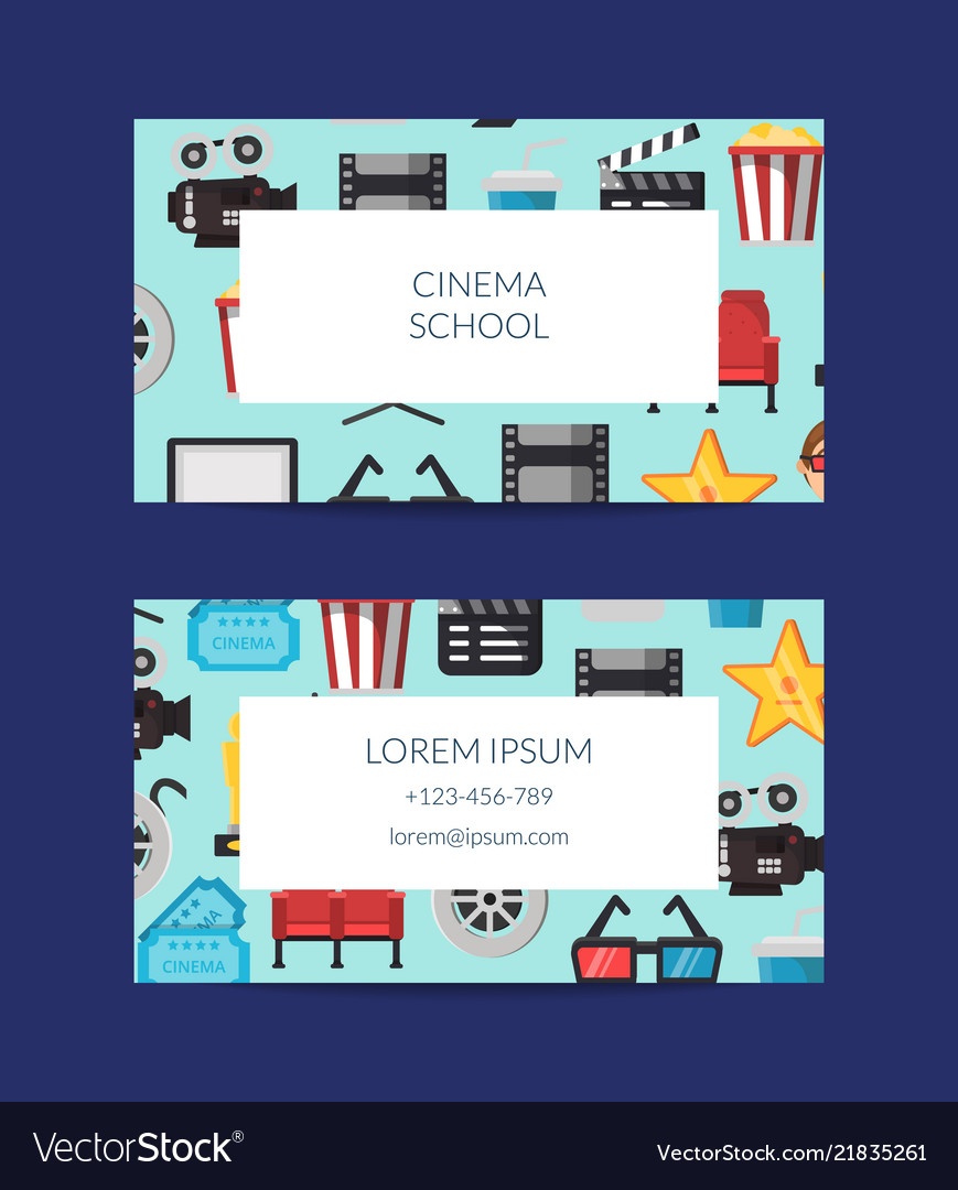 Flat cinema icons business card template