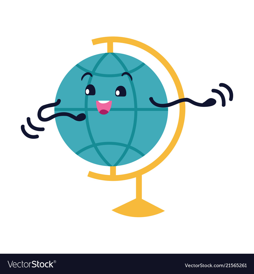 Globe flat icon smiling earth character
