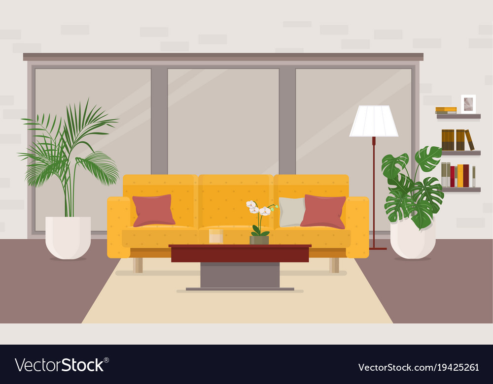 Living room interior with furniture panoramic