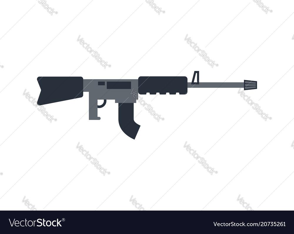 Machine gun isolated military rifle on white