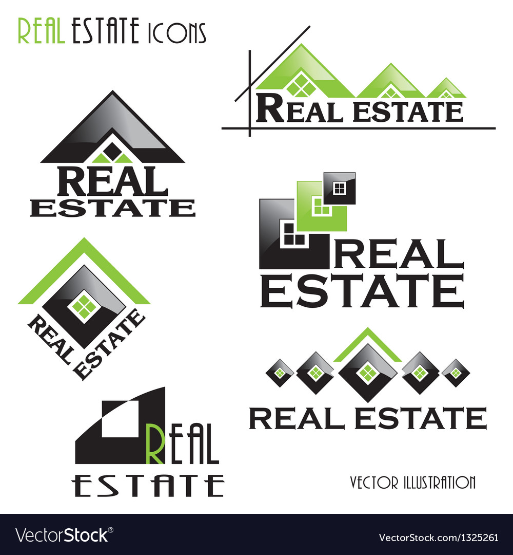 Modern Real estate icons vector image