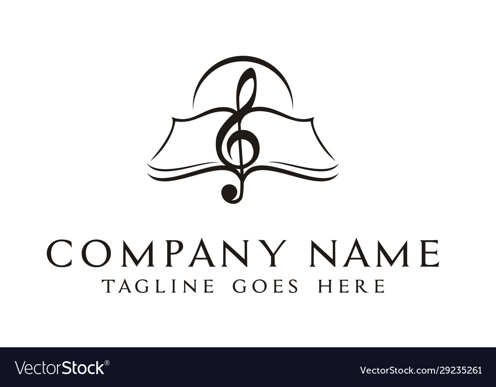 Music notes book sheet treble clef paper logo