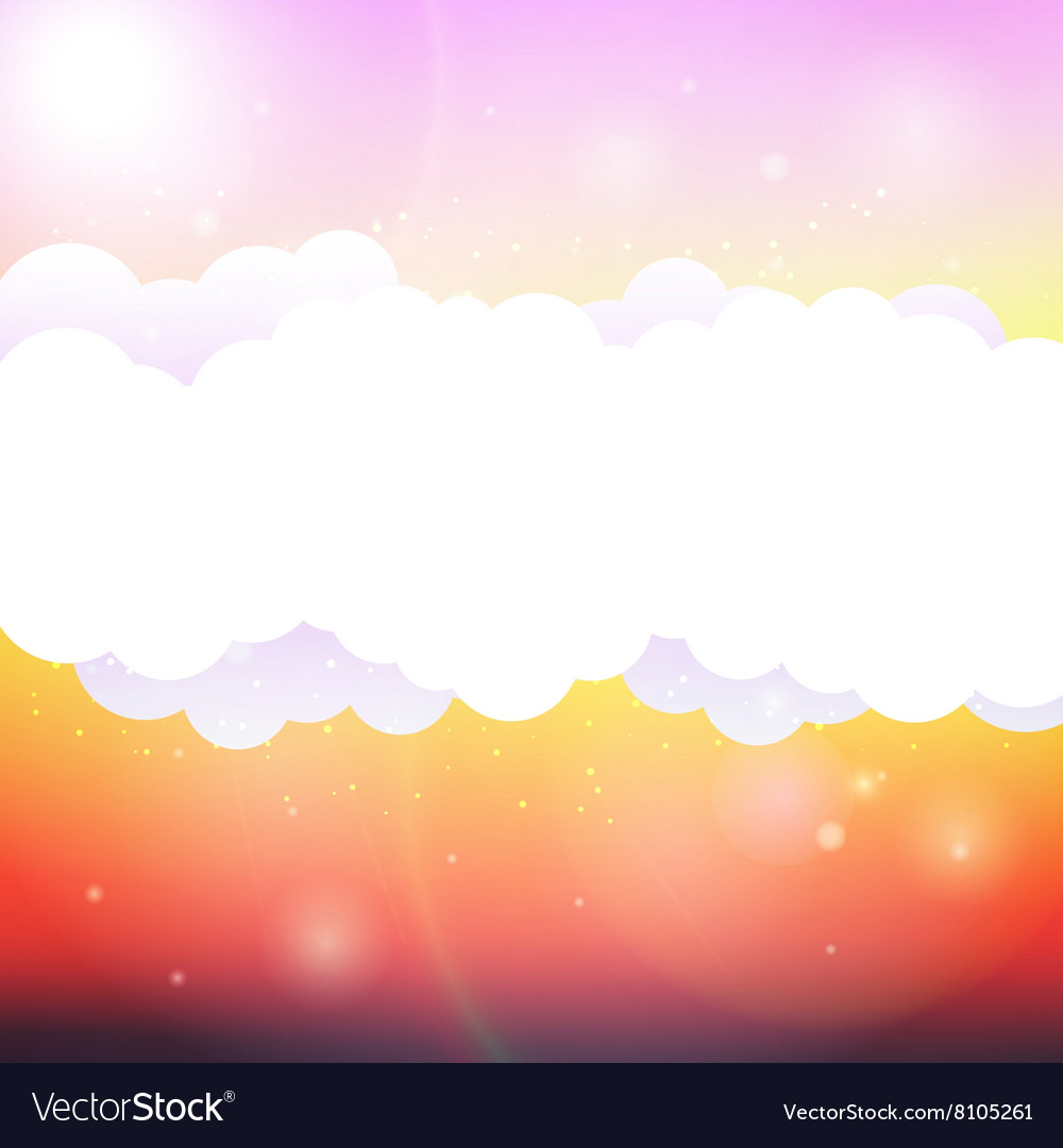 Sky clouds and sun with rays