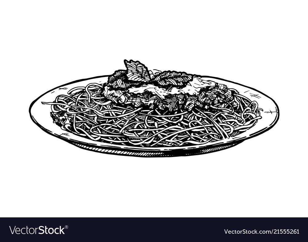 Spaghetti on plate