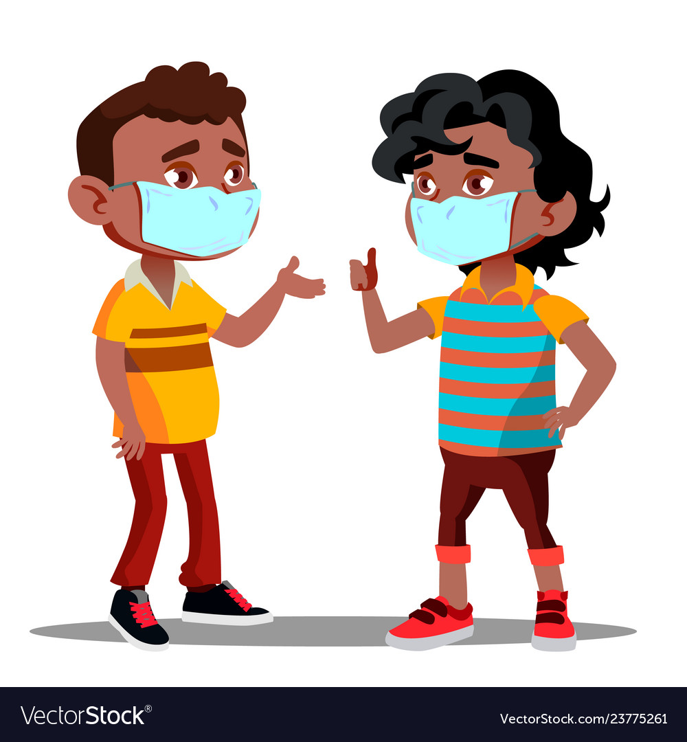 Two afro american boys with medical masks on their