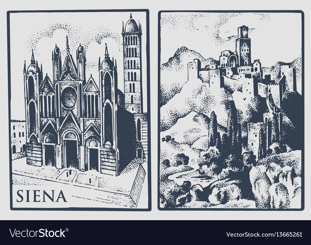 Two vintage postcards with landscapes of tuskany vector image