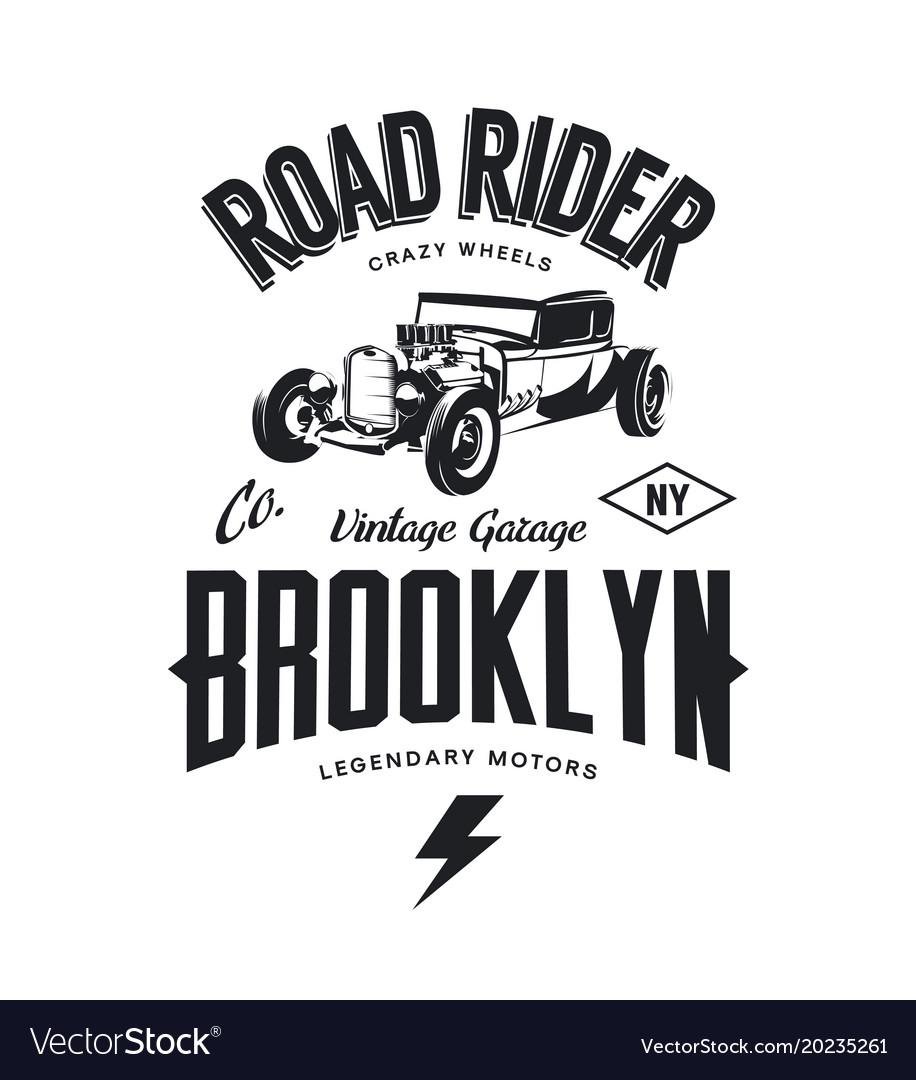 Vintage hot rod logo vector image