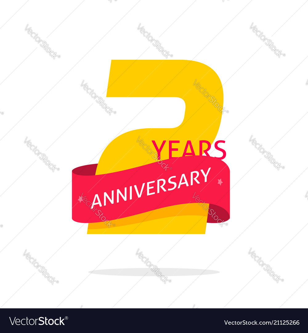 2 years anniversary logo template isolated on