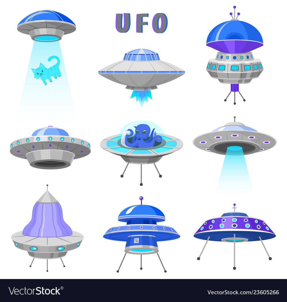 Alien spaceships set of ufo unidentified flying