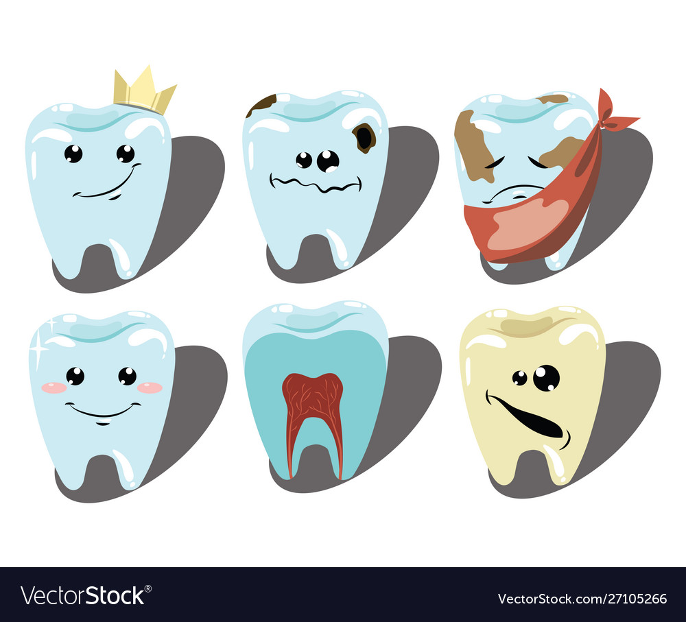 Cartoon set teeth a collection patients and