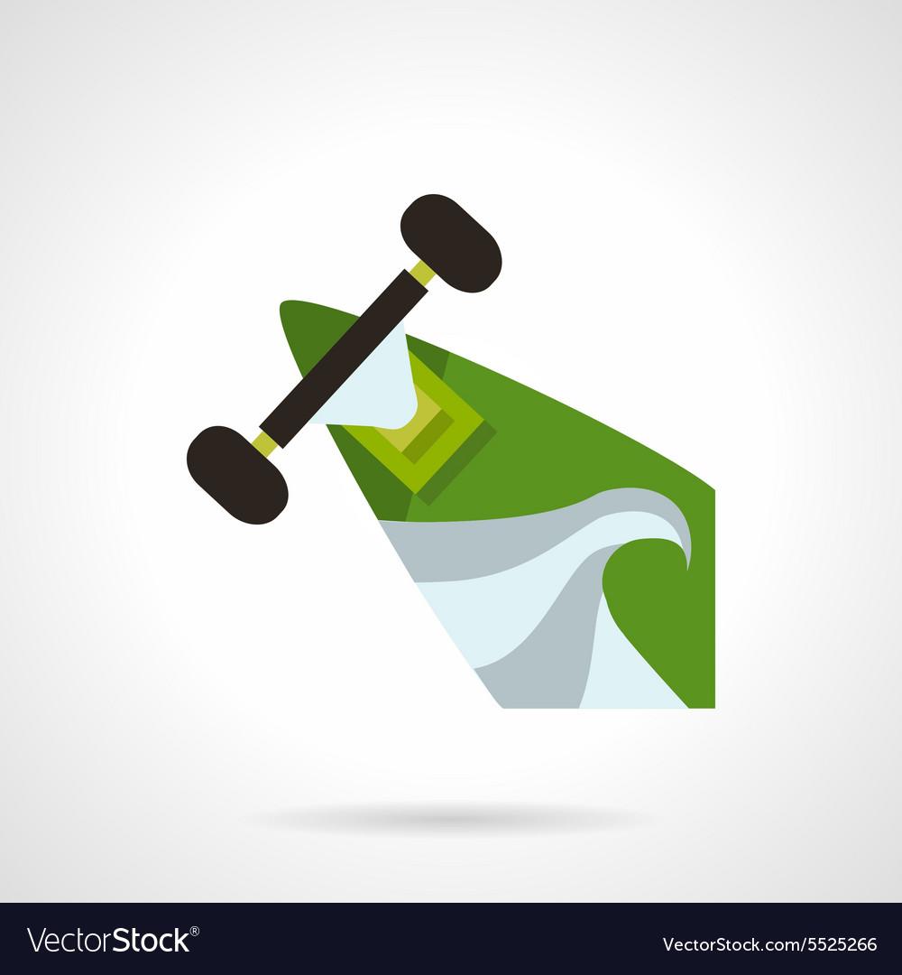 Green longboard flat icon vector image