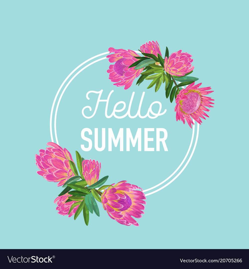 Hello summer botanical tropical design floral