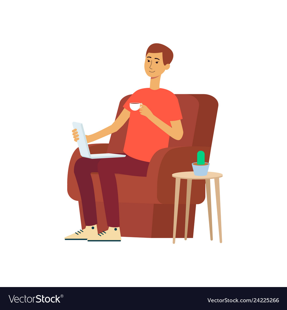 Man with laptop and cup sitting in chair cartoon