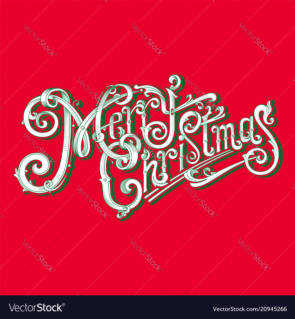 Merry christmas logo vintage image vector image