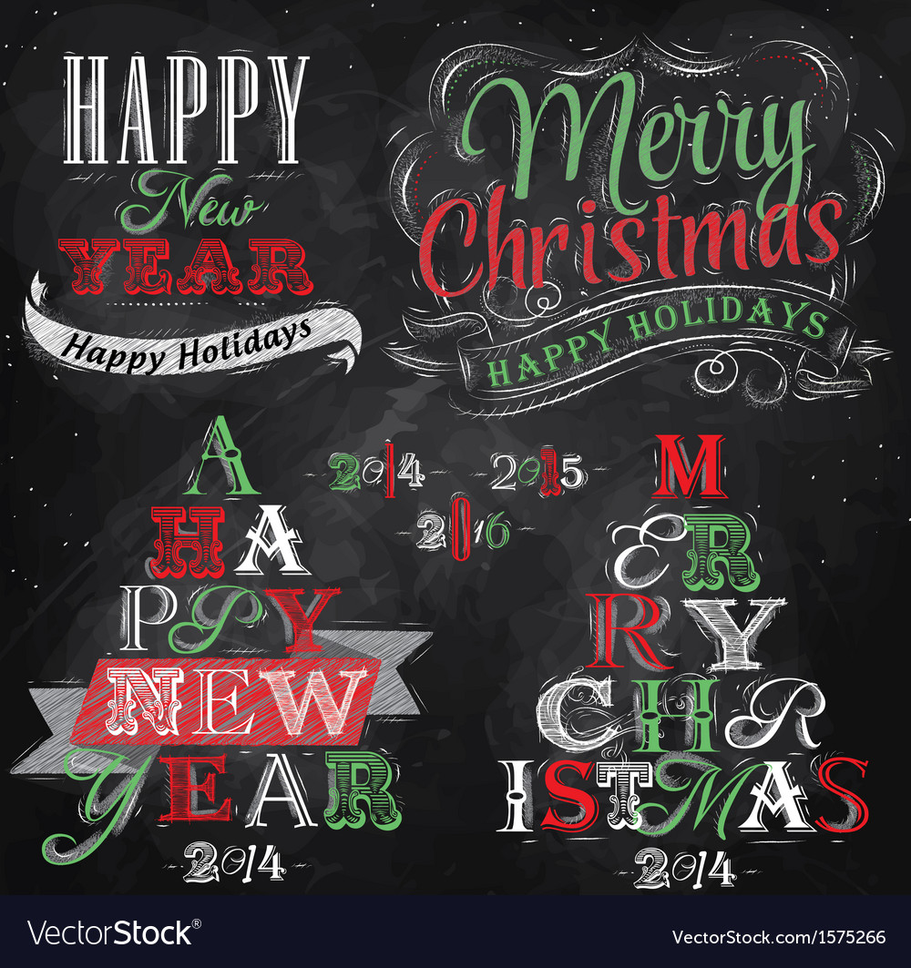 Set Merry Christmas Happy chalk color