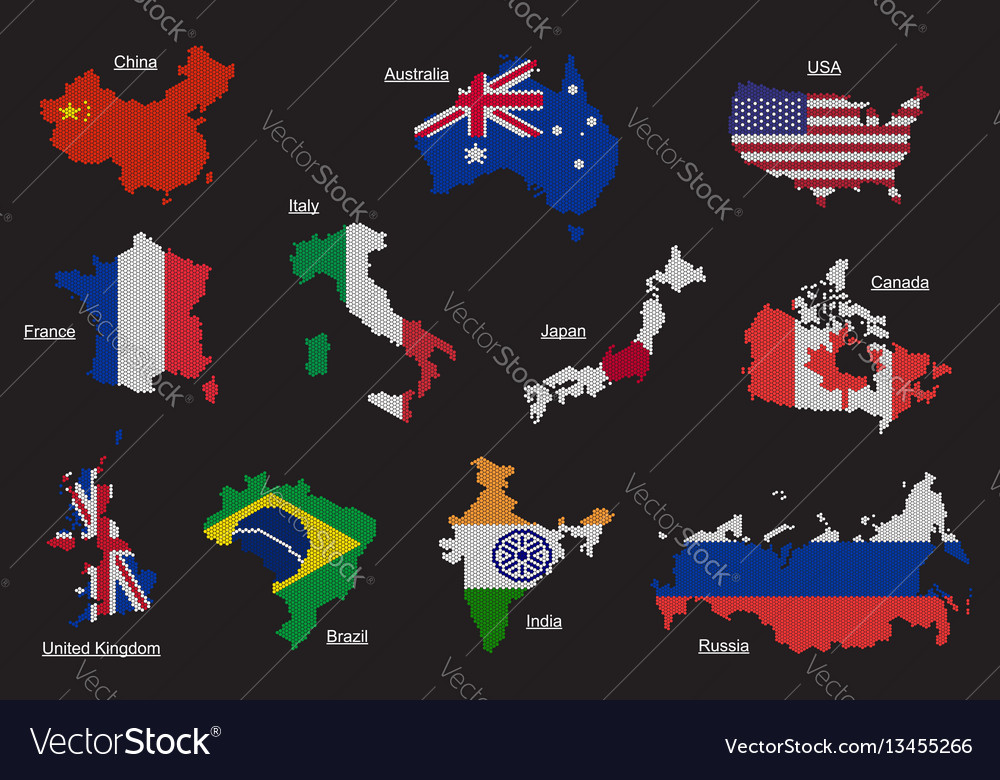 Set of countries map flag