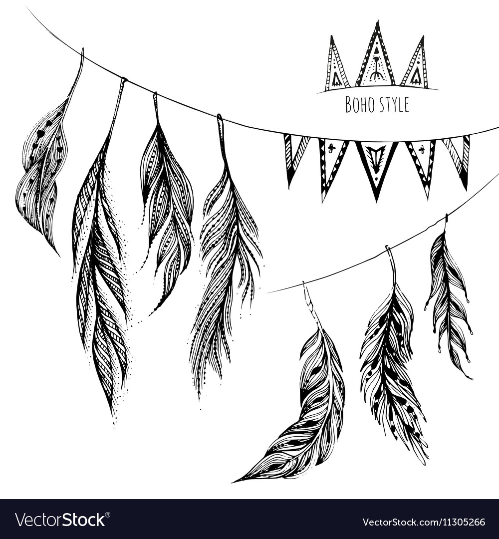 Set of hand drawn web design elements in Boho