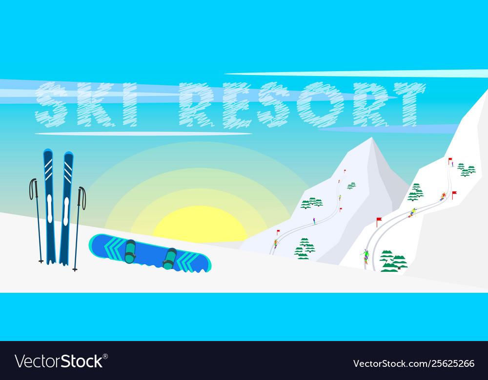 Winter web banner design ski resort ski equipment