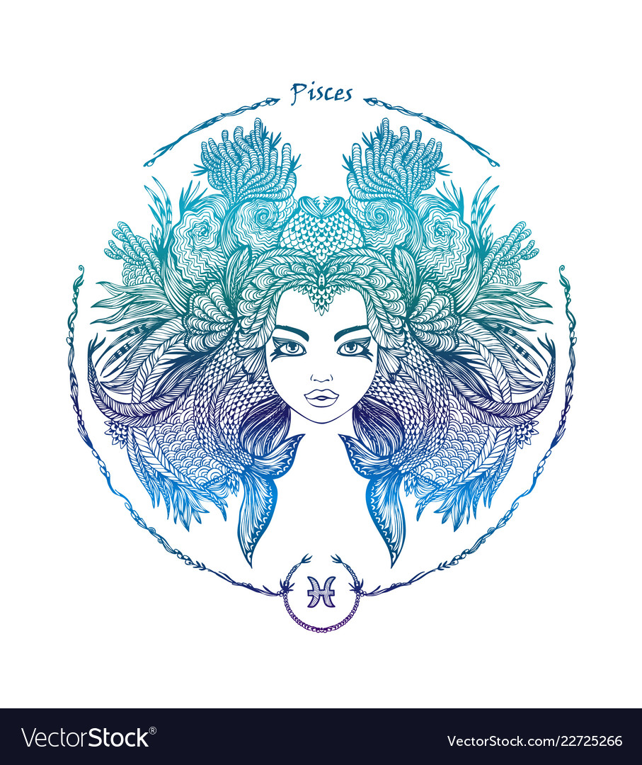 Zodiac Sign Portrait Of A Woman Pisces Royalty Free Vector
