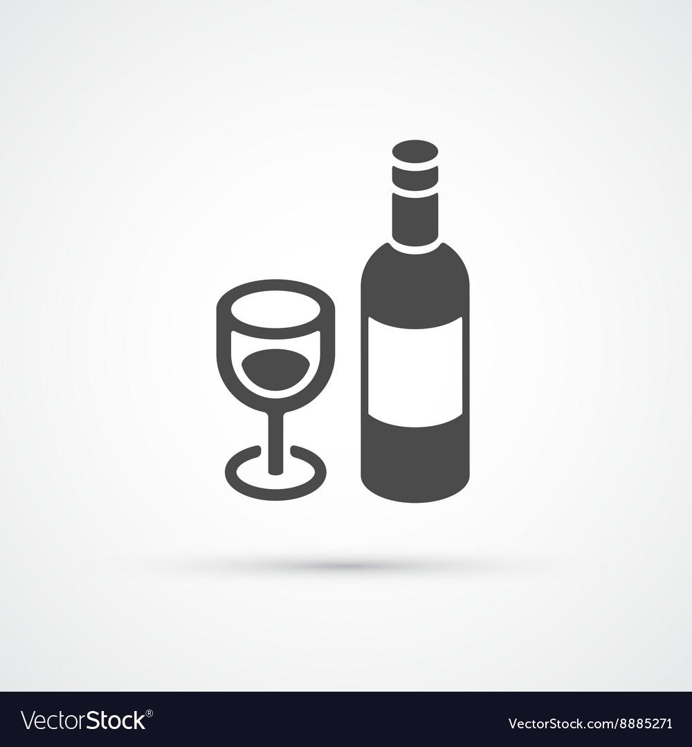 Bottle of wine trendy flat icon