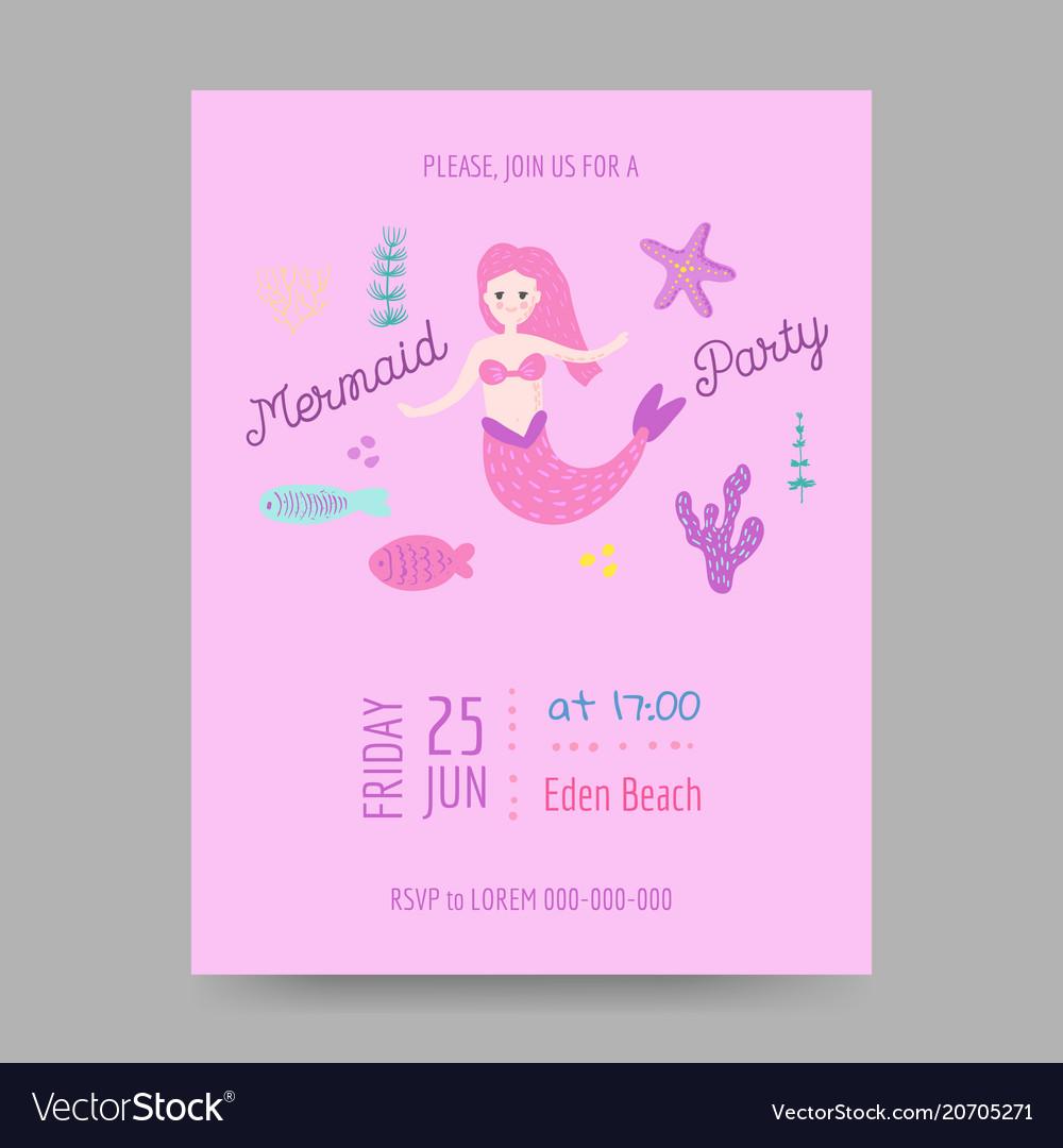 Childish Birthday Invitation Template With Mermaid