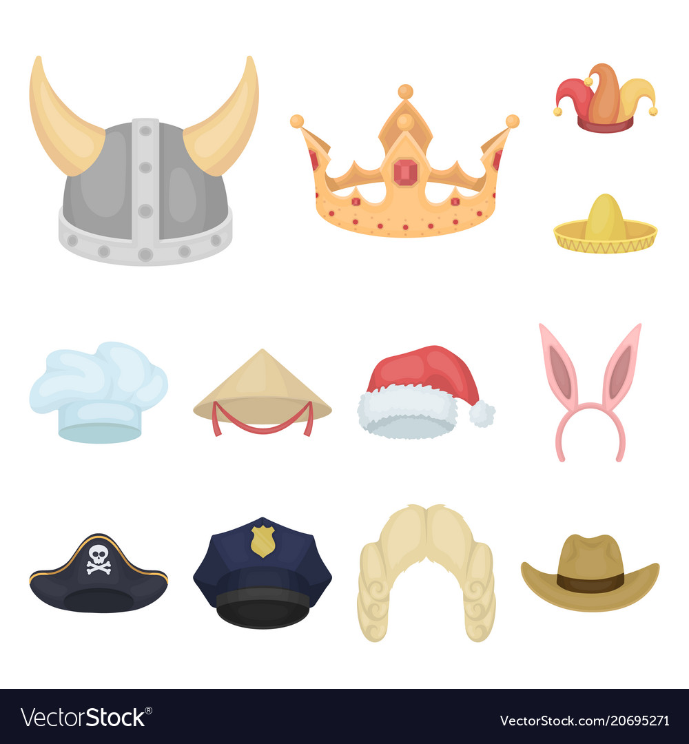 bbf55f56cb7fe Different kinds of hats cartoon icons in set Vector Image