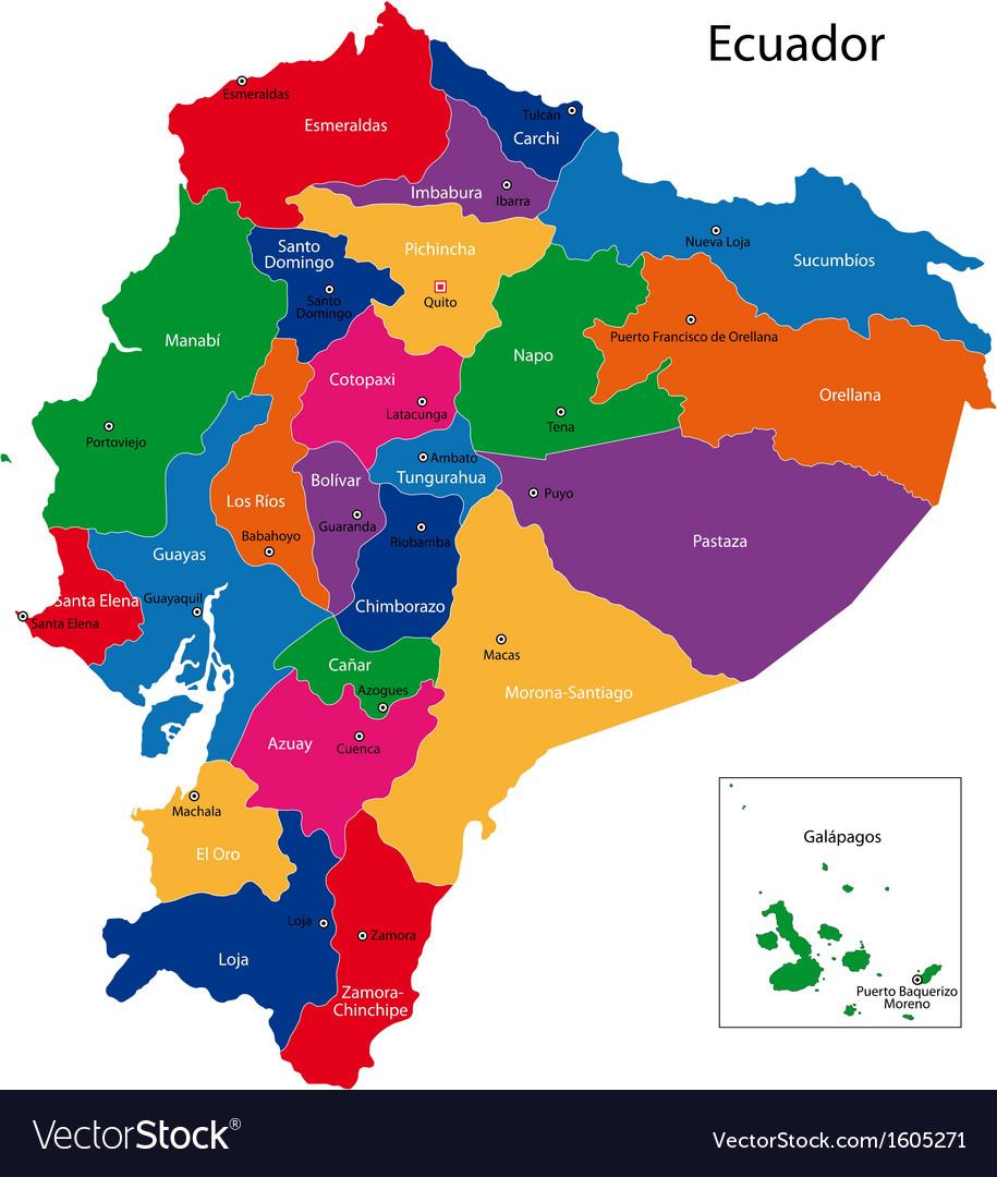 Ecuador map Royalty Free Vector Image - VectorStock