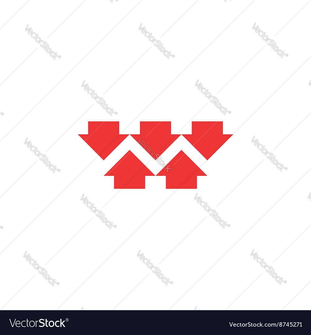 Five red converging arrows logo mockup converge