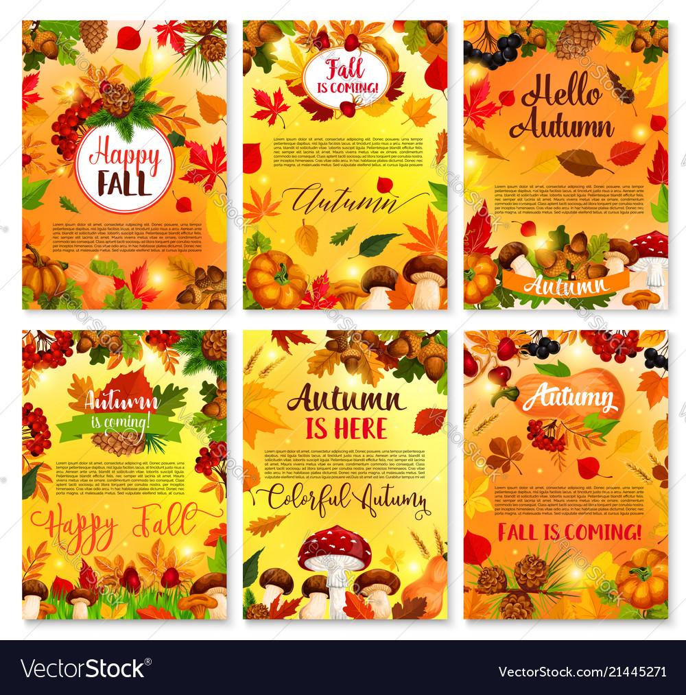 Hello autumn seasonal greeting cards