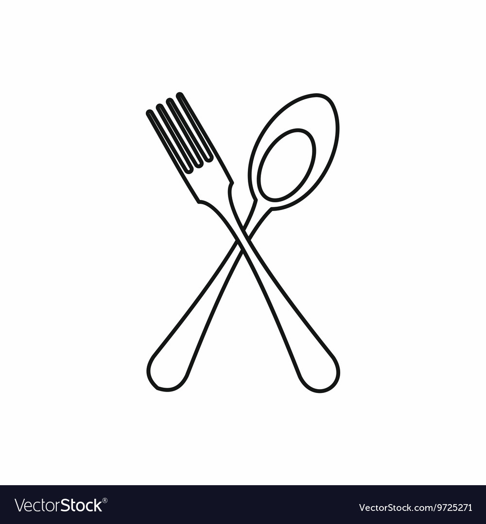 Spoon And Fork Icon Outline Style Royalty Free Vector Image
