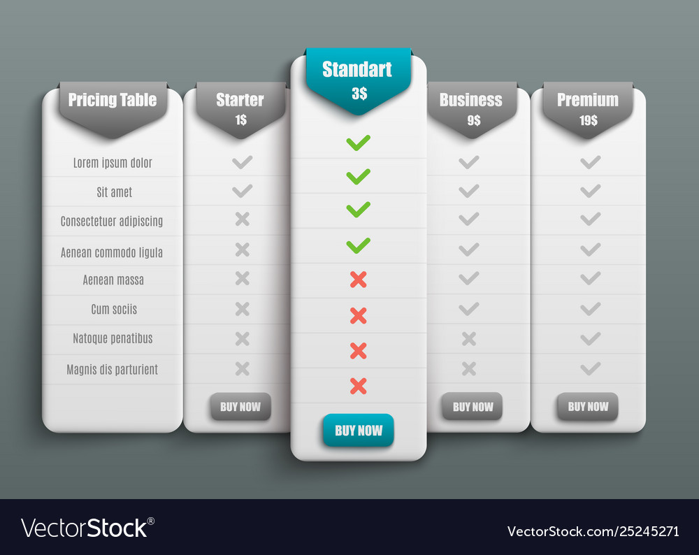 Subscription plan pricing tariff for web
