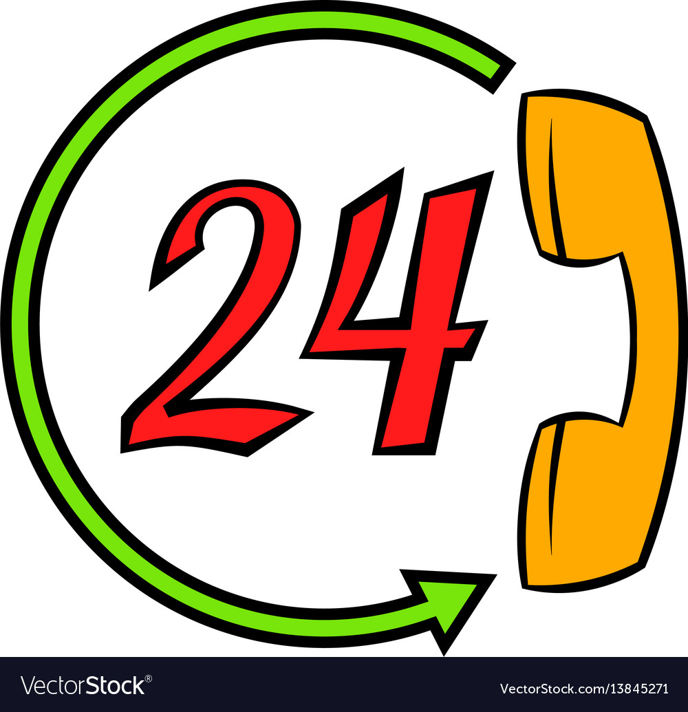Support call center 24 hours icon cartoon