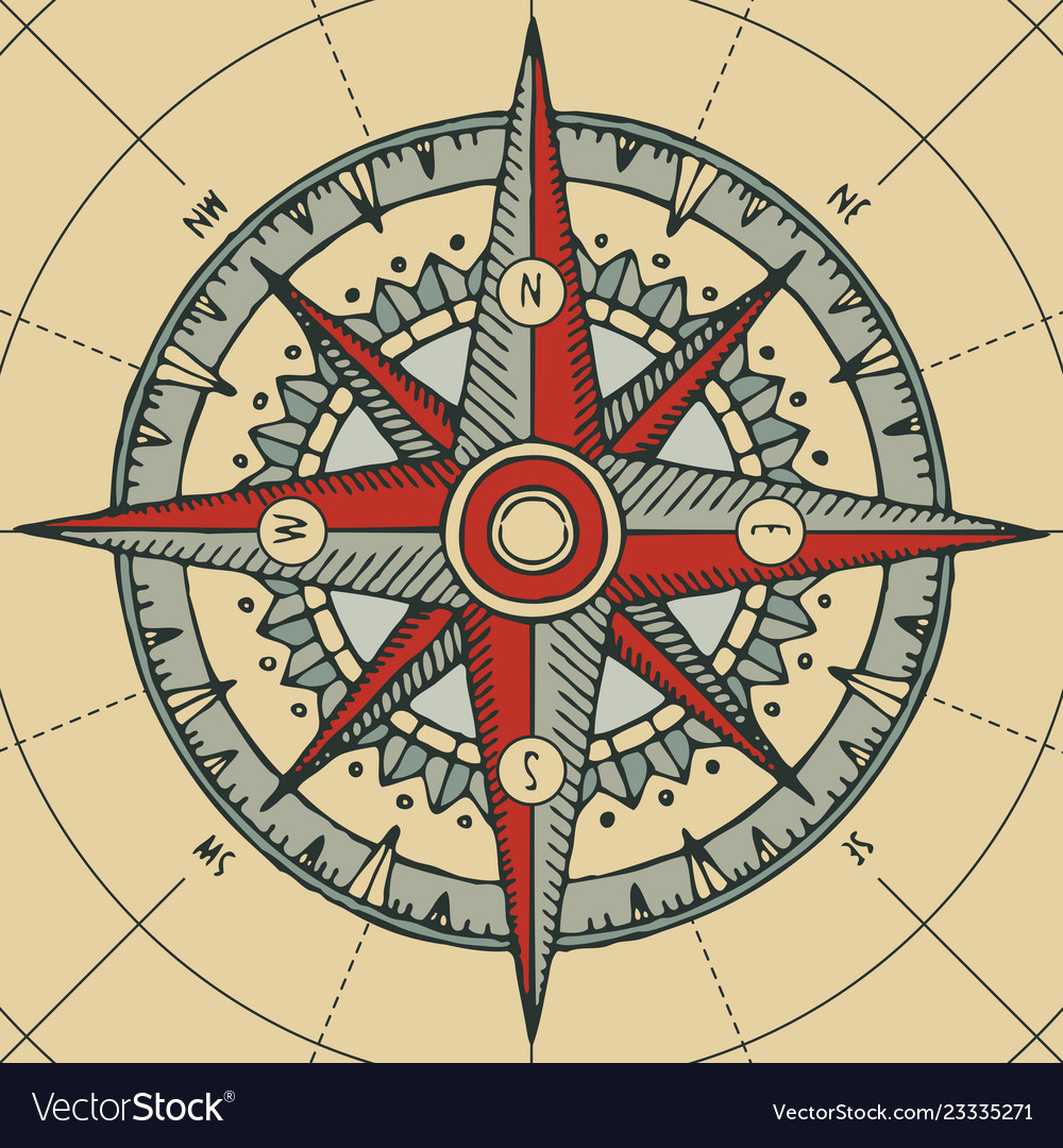 Travel banner with a wind rose and old compass