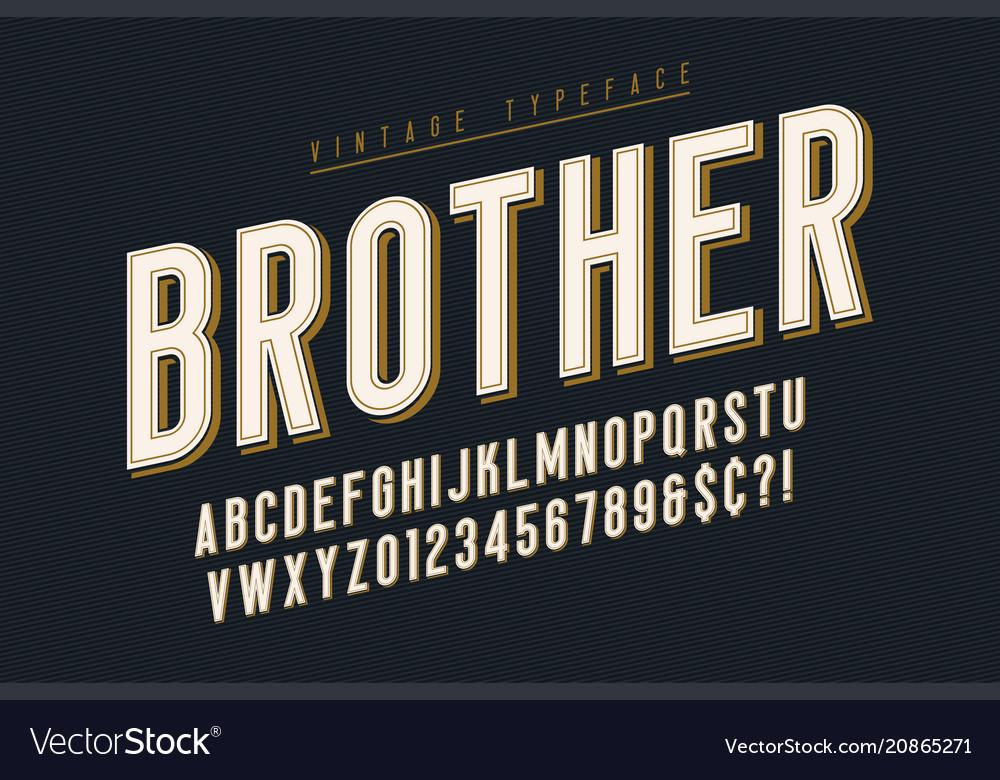 Trendy vintage display font design alphabet