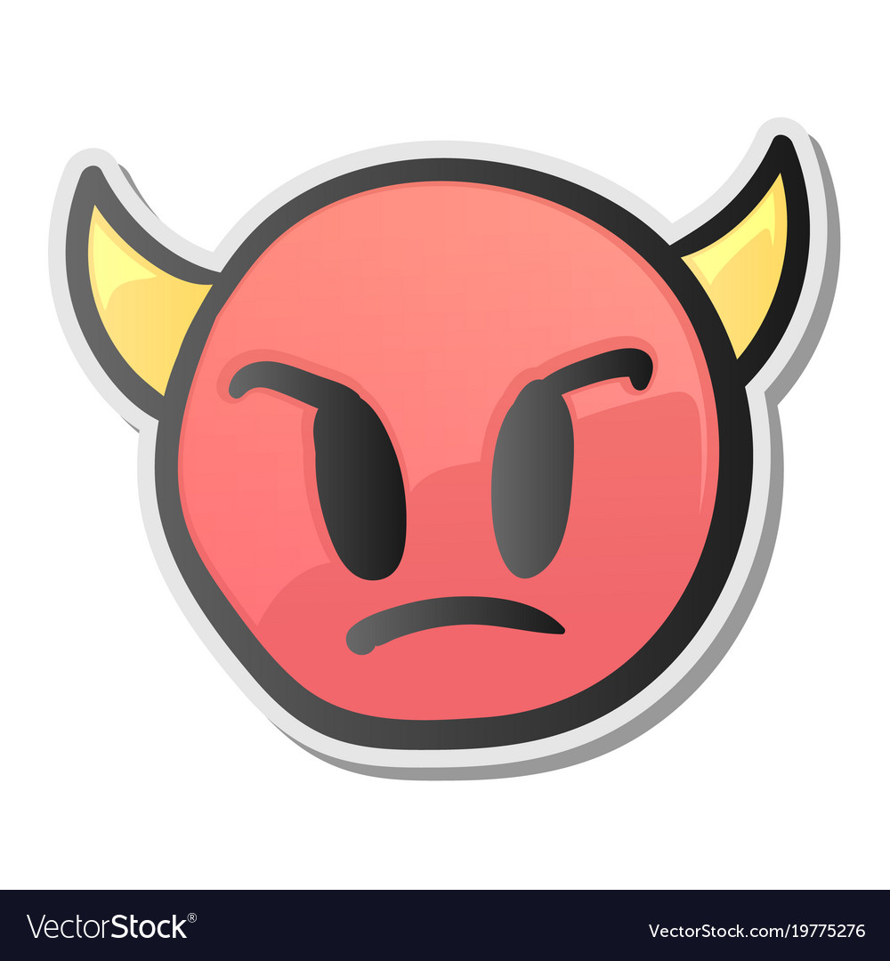 Angry Face Emoticon With Horns Emoji Smiley Symbol